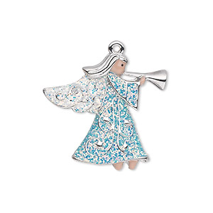 charm, silver-plated pewter (zinc-based alloy) and enamel, blue / white / peach, 25x24mm single-sided angel with horn and glittery wings and robe. sold individually.