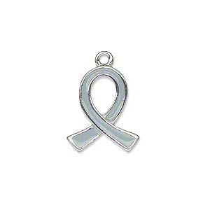 charm, silver-plated pewter (zinc-based alloy) and enamel, grey, 18x15mm single-sided awareness ribbon. sold individually.