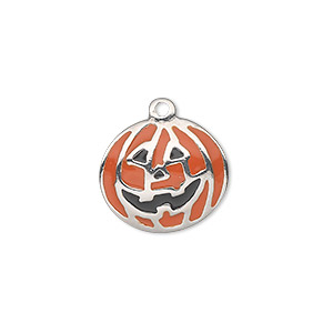 charm, silver-plated pewter (zinc-based alloy) and enamel, orange and black, 17x15mm single-sided pumpkin. sold individually.