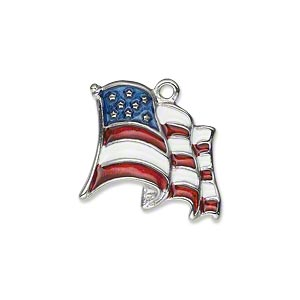 charm, silver-plated pewter (zinc-based alloy) and enamel, red / white / blue, 21mm waving usa flag. sold individually.