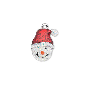 charm, silver-plated pewter (zinc-based alloy) and enamel, white / red / orange, 17x14mm single-sided snowman head with santa hat and carrot nose. sold individually.