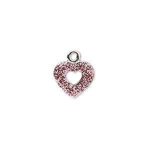 charm, silver-plated pewter (zinc-based alloy), pink glitter, 12x11mm single-sided open heart. sold individually.