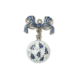 charm, silver-plated pewter (zinc-based alloy) with enamel and glitter, blue and white, 25x17mm single-sided ornament with bow. sold individually.
