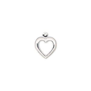 charm, sterling silver, 10.5mm single-sided open heart. sold per pkg of 2.