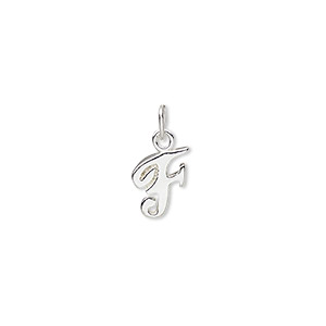 charm, sterling silver, 10x7mm champagne cursive alphabet letter f. sold individually.