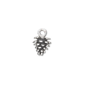 charm, sterling silver, 10x9mm pine cone. sold individually.
