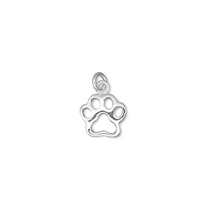 charm, sterling silver, 10x9mm single-sided open dog paw. sold individually.