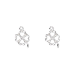 charm, sterling silver, 11x9mm 4-leaf clover. sold per pkg of 2.