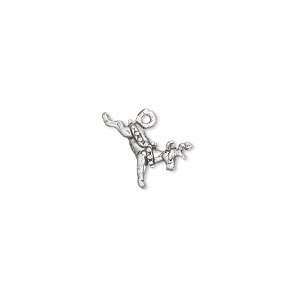 charm, sterling silver, 12x10mm reindeer. sold per pkg of 2.