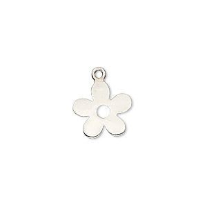 charm, sterling silver, 12x12mm flat flower. sold per pkg of 2.