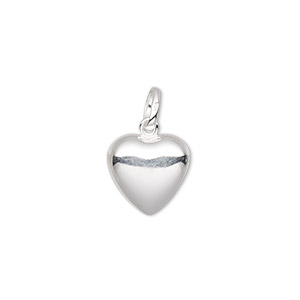 charm, sterling silver, 12x12mm puffed heart. sold per pkg of 2.
