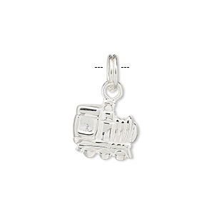 charm, sterling silver, 13x12mm locomotive. sold individually.