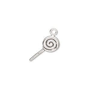 charm, sterling silver, 15x8mm sucker. sold individually.