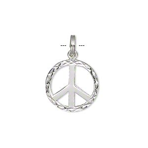 charm, sterling silver, 16mm single-sided peace sign with diamond-cut rim. sold individually.