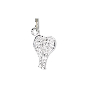 charm, sterling silver, 17x11mm double-sided tennis rackets. sold individually.