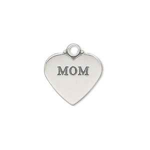 charm, sterling silver, 17x15mm double-sided affirmation heart mom. sold individually.