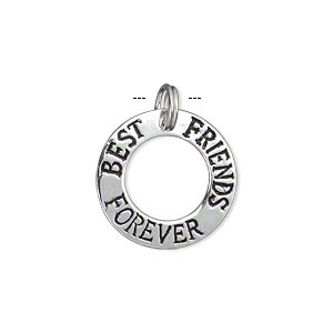 charm, sterling silver, 19mm single-sided flat open round with best friends forever. sold individually.