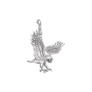 charm, sterling silver, 21x17mm striking eagle. sold individually.