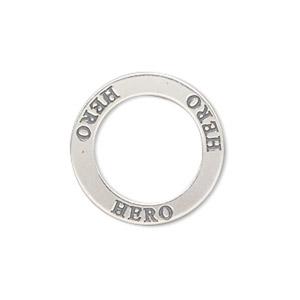charm, sterling silver, 22mm double-sided affirmation circle hero. sold individually.