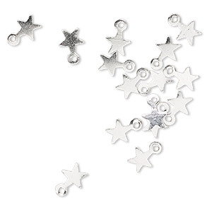 charm, sterling silver, 4x4mm star. sold per pkg of 20.