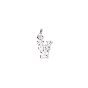 charm, sterling silver, 8x6mm fancy block alphabet letter v. sold individually.