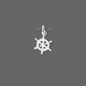charm. sterling silver, 9mm wheel. sold per pkg of 4.