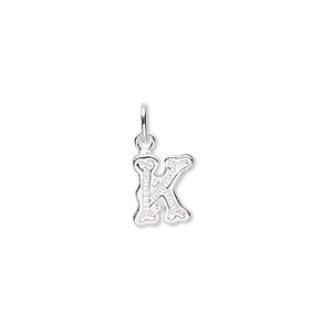 charm, sterling silver, 9x7mm fancy block alphabet letter k. sold individually.