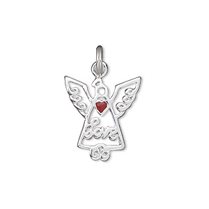 charm, sterling silver and enamel, red, 18x16mm single-sided open winged angel with love and heart. sold individually.
