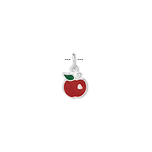 charm, sterling silver and enamel, red, 7.5x7.5mm apple. sold per pkg of 4.
