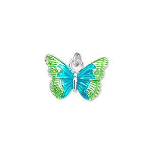 charm, sterling silver and enamel, teal and green, 18x13mm single-sided butterfly. sold individually.