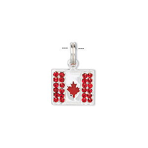 charm, sterling silver and red crystal, 13x12mm canadian flag. sold individually.