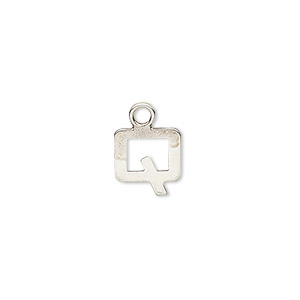 charm, sterling silver, modern square alphabet letter q, 10x9mm. sold individually.