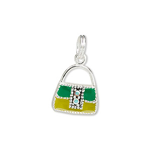 charm, sterling silver with clear ab rhinestone and green enamel, 23x13x3mm purse. sold individually.