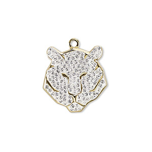 charm, swarovski crystal / epoxy / gold-plated brass, crystal passions, crystal clear, 16mm pave tiger pendant (67511). sold individually.