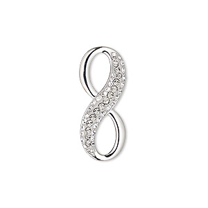 charm, swarovski crystals / rhodium-plated brass / epoxy, black diamond / crystal clear / white, 26x10.5mm pave infinity pendant (67402). sold per pkg of 6.