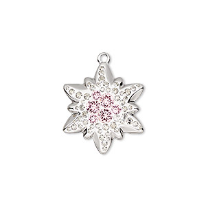 charm, swarovski crystals / rhodium-plated brass / epoxy, crystal passions, crystal clear / vintage rose / white, 20x17mm pave edelweiss pendant (67442). sold individually.