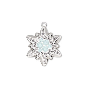 charm, swarovski crystals / rhodium-plated brass / epoxy, white opal / crystal clear / white, 20x17mm pave edelweiss pendant (67442). sold per pkg of 6.