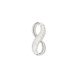charm, swarovski crystals / rhodium-plated brass / epoxy, white opal / crystal moonlight / white, 20x8.5mm pave infinity pendant (67402). sold per pkg of 6.