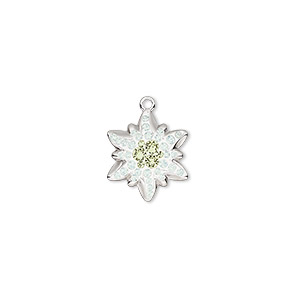 charm, swarovski crystals / rhodium-plated brass / epoxy, white opal / jonquil / white, 14x12mm pave edelweiss pendant (67442). sold per pkg of 12.
