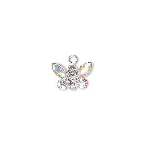 charm, swarovski crystals and sterling silver, crystal ab, 12x8mm butterfly. sold individually.