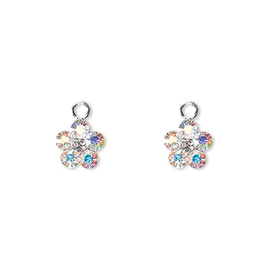 charm, swarovski crystals and sterling silver, crystal ab, 8x8mm flower. sold per pkg of 2.