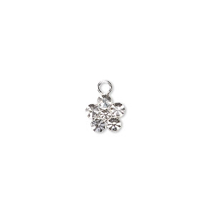 charm, swarovski crystals and sterling silver, crystal clear, 8x8mm flower. sold per pkg of 2.