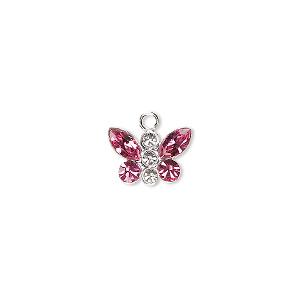 charm, swarovski crystals and sterling silver, crystal clear and rose, 12x8mm butterfly. sold individually.
