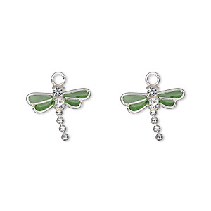 charm, swarovski crystals and sterling silver, crystal clear with green enamel, 13x11mm dragonfly. sold per pkg of 2.
