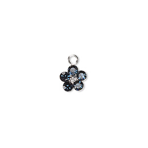 charm, swarovski crystals and sterling silver, montana, 8x8mm flower. sold per pkg of 2.