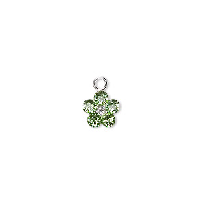 charm, swarovski crystals and sterling silver, peridot, 8x8mm flower. sold per pkg of 2.