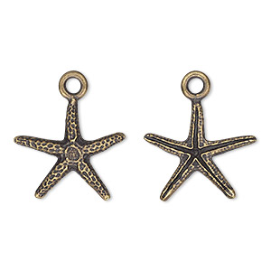 charm, tierracast, antique brass-plated pewter (tin-based alloy), 18x17mm 3d starfish. sold individually.