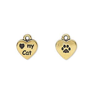 charm, tierracast, antique gold-plated pewter (tin-based alloy), 10x10mm double-sided heart with love my cat and paw print. sold per pkg of 2.