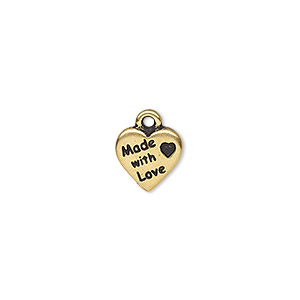 charm, tierracast, antique gold-plated pewter (tin-based alloy), 10x10mm double-sided heart with made with love. sold per pkg of 2.