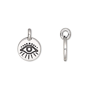 charm, tierracast, antique silver-plated pewter (tin-based alloy), 12mm single-sided round with wards off the evil eye design. sold individually.
